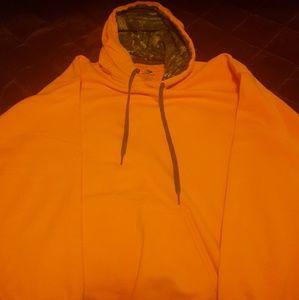 Men sweatshirt orange with camo hood lining